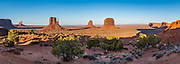 West and East Mitten Buttes and Merrick Butte in Monument Valley Navajo Tribal Park, Arizona, USA. The Western movie director John Ford set several popular films here. This image was stitched from multiple overlapping photos.