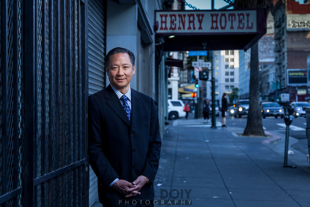 "Public Defender Jeff Adachi outside the Henry Hotel on 6th street. Surveillance footage released to the public by the PD in 2011, ultimately led to the indictment of 6 SFPD officers and the dismissal of over 100 cases. ""It's important for San Franciscans to understand that this is not a situation where these officers were committing mere technicalities, but instead they were actively engaged in criminal conduct,"" said Adachi."