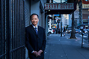 """Public Defender Jeff Adachi outside the Henry Hotel on 6th street. Surveillance footage released to the public by the PD in 2011, ultimately led to the indictment of 6 SFPD officers and the dismissal of over 100 cases. """"It's important for San Franciscans to understand that this is not a situation where these officers were committing mere technicalities, but instead they were actively engaged in criminal conduct,"""" said Adachi."""