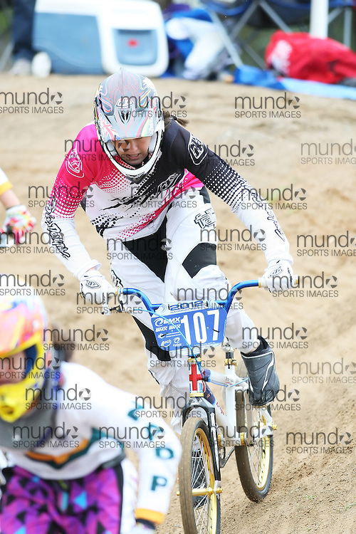 (Canberra, Australia---03 March 2012) Hanna Sarten of New Zealand competing in stage 5 of the BMX Australia Champbikx 16 Girls series at the Melba BMX Track in Canberra, Australia. Photograph 2012 Copyright Sean Burges / Mundo Sport Images. For reproduction rights and information in Australia, contact seanburges@yahoo.com. For information elsewhere contact info@mundosportimages.com.