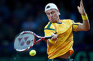 Lleyton Hewitt from Australia competes during the BNP Paribas Davis Cup 2013 between Poland and Australia at Torwar Hall in Warsaw on September 13, 2013.<br /> <br /> Poland, Warsaw, September 13, 2013<br /> <br /> Picture also available in RAW (NEF) or TIFF format on special request.<br /> <br /> For editorial use only. Any commercial or promotional use requires permission.<br /> <br /> Photo by © Adam Nurkiewicz / Mediasport