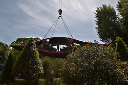© licensed to London News Pictures. LONDON, UK  23/05/2011. A raised garden pod, part of the Irish Sky Garden, at 2011 RHS Chelsea Flower Show. The show held each year in the grounds of the Royal Chelsea Hospital and organised by the Royal Horticultural society opens to the general public tomorrow and is already sold out. Please see special instructions for usage rates. Photo credit should read CLIFF HIDE/LNP