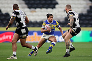Leeds Rhinos full back Ashton Golding (1) looks to break the Hull FC defence during the Betfred Super League match between Hull FC and Leeds Rhinos at Kingston Communications Stadium, Hull, United Kingdom on 19 April 2018. Picture by Mick Atkins.