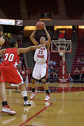 26 February 2009: Kenyatta Shelton looks to pass in from the top of the lane. The Braves of Bradley  and the Illinois State Redbirds battled it out on Doug Collins Court inside Redbird Arena on the campus of Illinois State University, Normal Il.