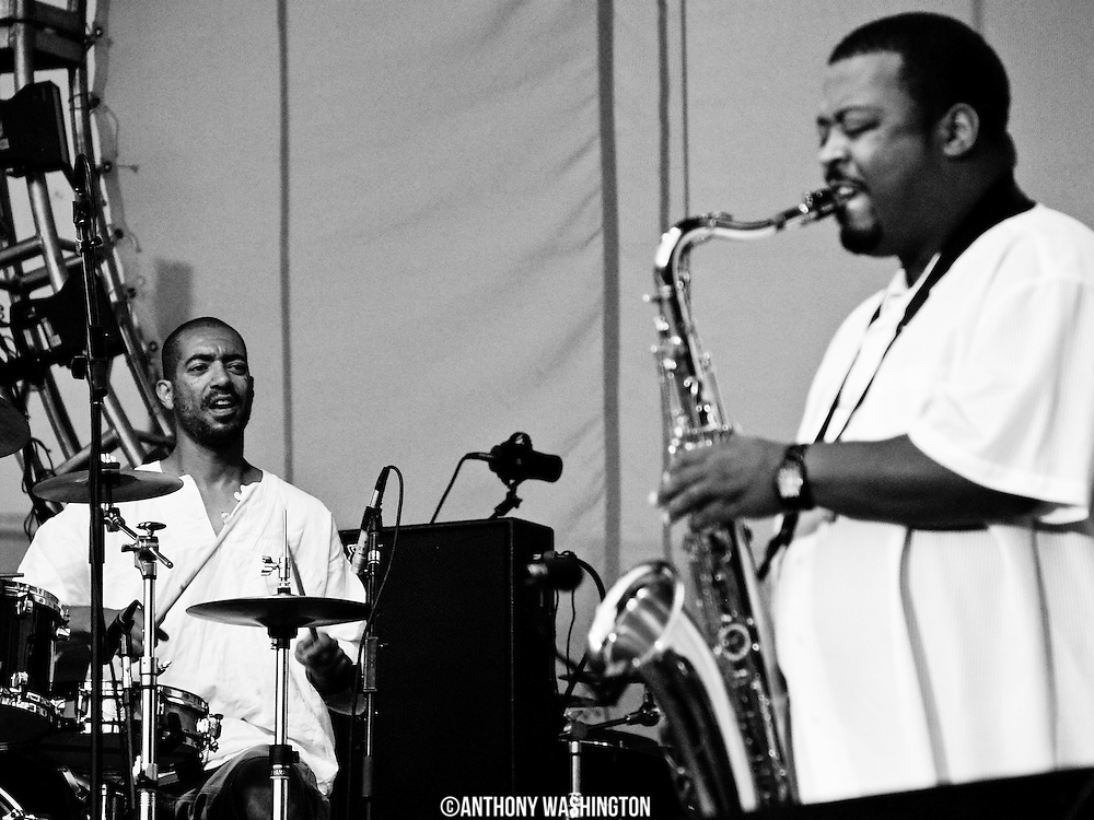 Marcus Asante (left) and Craig Alston of the group Fertival Ground performs during The African American Heritage Festival in Baltimore, MD on Friday, July 6, 2007.