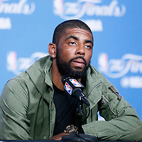 10 June 2016: Cleveland Cavaliers guard Kyrie Irving (2) answers journalists during the press conference following the Golden State Warriors 108-97 victory over the Cleveland Cavaliers, during Game Four of the 2016 NBA Finals at the Quicken Loans Arena, Cleveland, Ohio, USA.