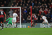 Glenn Murray of Bournemouth shoots at goal during the Barclays Premier League match between Bournemouth and Manchester United at the Goldsands Stadium, Bournemouth, England on 12 December 2015. Photo by Phil Duncan.