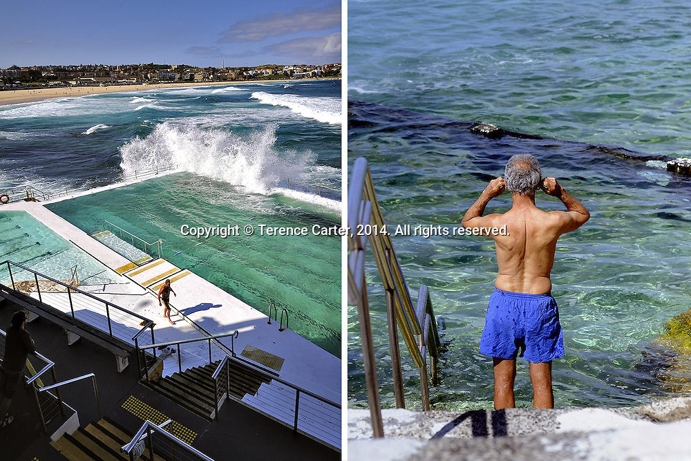 Beachside Swimming pools, Sydney, Australia. Bondi (left) and Bronte (right). Copyright 2014 Terence Carter / Grantourismo. All Rights Reserved.