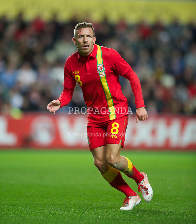 SWANSEA, WALES - Wednesday, February 6, 2013: Wales' Craig Bellamy in action against Austria during the International Friendly at the Liberty Stadium. (Pic by David Rawcliffe/Propaganda)