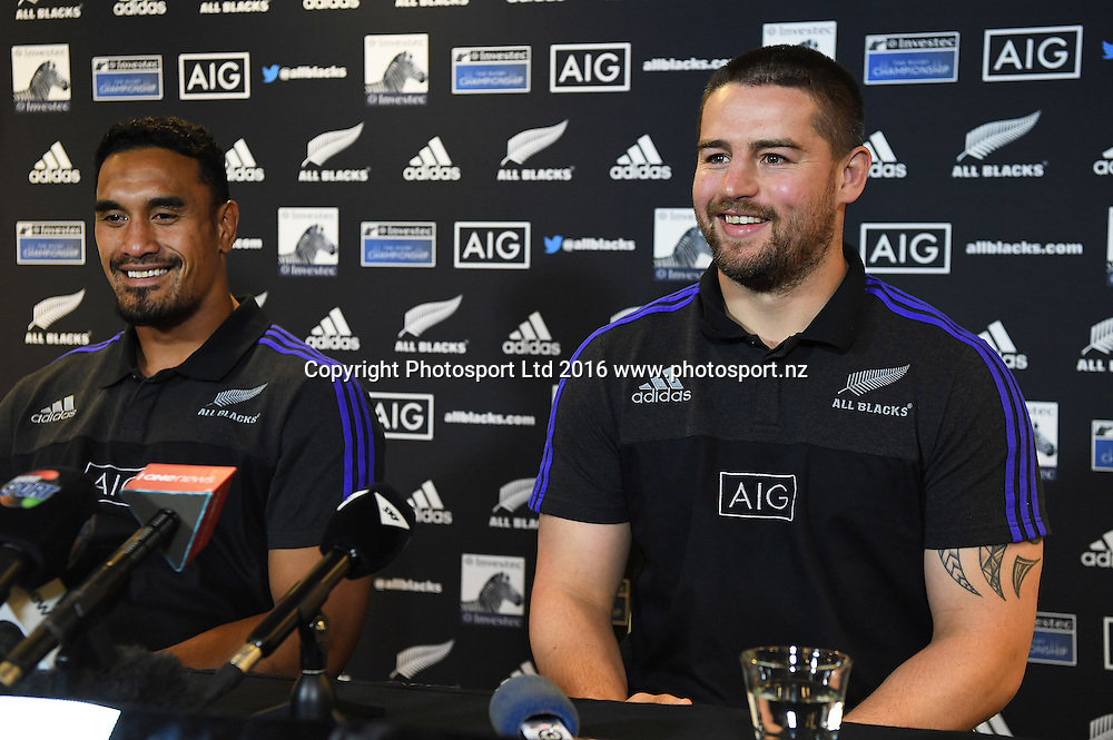 Jerome Kaino and Dane Coles during an All Blacks press conference in Hamilton ahead of the The Rugby Championship test match against Argentina. Thursday 8 September 2016. © Copyright Photo: Andrew Cornaga / www.Photosport.nz