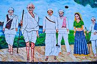 Inde, Rajasthan, Mount Abu, peinture murale du Mahatma Gandhi // India, Rajasthan, Mount Abu, wall painting of Mahatma Gandhi