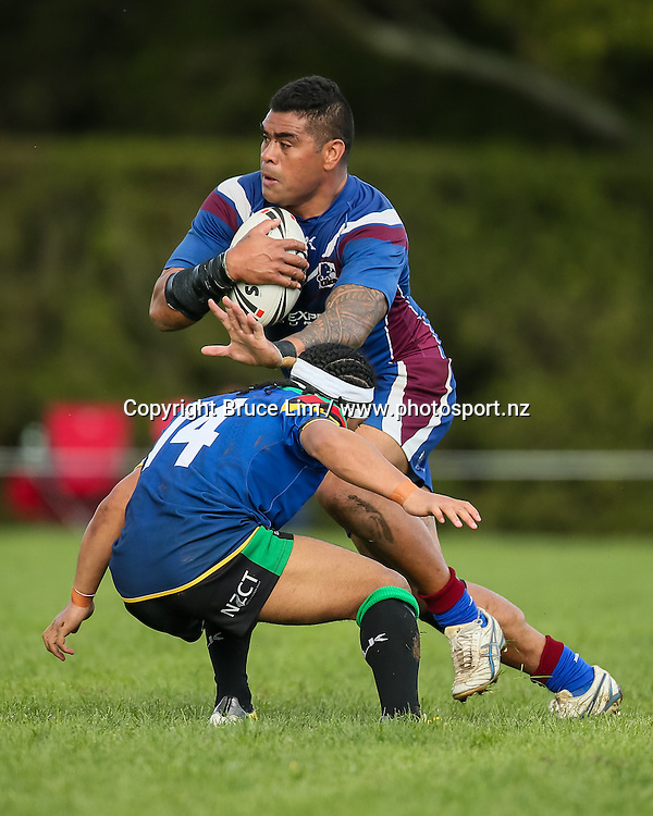 Akarana Falcons second rower Saimone Makahili looks to beat Wai-Coa-Bay Stallions substitute Yannis Mea during the NZRL Premiership rugby league match - Wai-Coa-Bay Stallions v Akarana Falcons at Resthills Park, Hamilton on Saturday 19 September 2015. <br /> <br /> Copyright Photo:  Bruce Lim / www.photosport.nz
