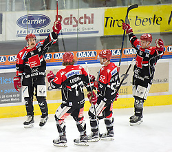 19.02.2017, Tiroler Wasserkraft Arena, Innsbruck, AUT, EBEL, HC TWK Innsbruck die Haie vs EC Red Bull Salzburg, Platzierungsrunde, im Bild v.l.n.r.: Austin Smith (HC TWK Innsbruck  die Haie), Philipp Lindner (HC TWK Innsbruck  die Haie), Jason Desantis (HC TWK Innsbruck  die Haie) und Mario Lamoureux (HC TWK Innsbruck  die Haie) // during the Erste Bank Erste Bank Icehockey placement round match between HC TWK Innsbruck  die Haie and EC Red Bull Salzburg at the Tiroler Wasserkraft Arena in Innsbruck, Austria on 2017/02/19. EXPA Pictures © 2017, PhotoCredit: EXPA/ Jakob Gruber