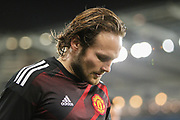 Daley Blind of Manchester United warms-up, before the EFL Cup match between Swansea City and Manchester United at the Liberty Stadium, Swansea, Wales on 24 October 2017. Photo by Andrew Lewis.