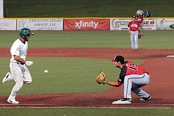06 June 2014:  Sam Eberle during a Frontier League Baseball game between the Frontier Freedom and the Normal CornBelters at Corn Crib Stadium on the campus of Heartland Community College in Normal Illinois
