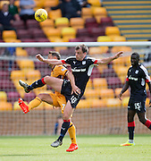 Dundee's Paul McGowan and Motherwell's Scott McDonald - Motherwell v Dundee in the Ladbrokes Scottish Premiership at Fir Park, Motherwell. Photo: David Young<br /> <br />  - © David Young - www.davidyoungphoto.co.uk - email: davidyoungphoto@gmail.com