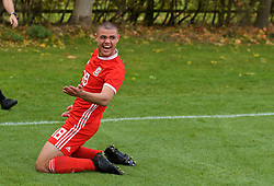 WREXHAM, WALES - Wednesday, October 30, 2019: Wales' Kai Ludvigsen celebrates scoring the first goal during the 2019 Victory Shield match between Wales and Republic of Ireland at Colliers Park. (Pic by David Rawcliffe/Propaganda)