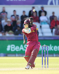 July 1, 2019 - Chester Le Street, County Durham, United Kingdom - Fabian Allen of West Indies batting during the ICC Cricket World Cup 2019 match between Sri Lanka and West Indies at Emirates Riverside, Chester le Street on Monday 1st July 2019. (Credit Image: © Mi News/NurPhoto via ZUMA Press)