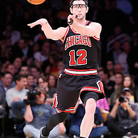 09 February 2014: Chicago Bulls shooting guard Kirk Hinrich (12) passes the ball during the Chicago Bulls 92-86 victory over the Los Angeles Lakers at the Staples Center, Los Angeles, California, USA.