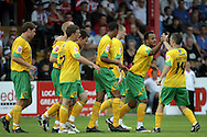London - Saturday August 15th, 2009: Wesley Hoolahan (R) of Norwich City celebrates Jens Berthel Askou's goal with team mate Simon Whaley in action against /e of Exeter City during the Coca Cola League One match at St James Park, Exeter. (Pic by Mark Chapman/Focus Images)