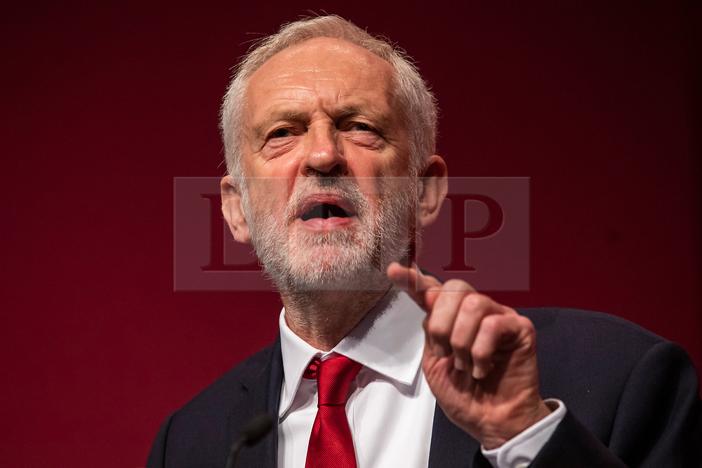© Licensed to London News Pictures. 26/09/2018. Liverpool, UK. Labour Party Leader Jeremy Corbyn MP delivers his speech at the end of the Labour Party Conference. Photo credit: Rob Pinney/LNP