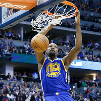 13 February 2017: Golden State Warriors forward Kevin Durant (35) dunks the ball during the Denver Nuggets 132-110 victory over the Golden State Warriors, at the Pepsi Center, Denver, Colorado, USA.
