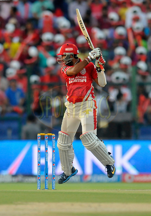 Cheteshwar Pujara of the Kings X1 Punjab bats during match 15 of the Pepsi Indian Premier League 2014 Season between The Kings XI Punjab and the Kolkata Knight Riders held at the Sheikh Zayed Stadium, Abu Dhabi, United Arab Emirates on the 26th April 2014<br /> <br /> Photo by Pal Pillai / IPL / SPORTZPICS