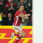 Mike Phillips, Wales, scores a try for his side during the Wales V France Semi Final match at the IRB Rugby World Cup tournament, Eden Park, Auckland, New Zealand, 15th October 2011. Photo Tim Clayton...