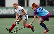 Canterbury's Lucy Barnes challenges with Krylatskoye's Alena Khalmuratova during their 2nd game of the EHCC 2017 at Den Bosch HC, The Netherlands, 4th June 2017