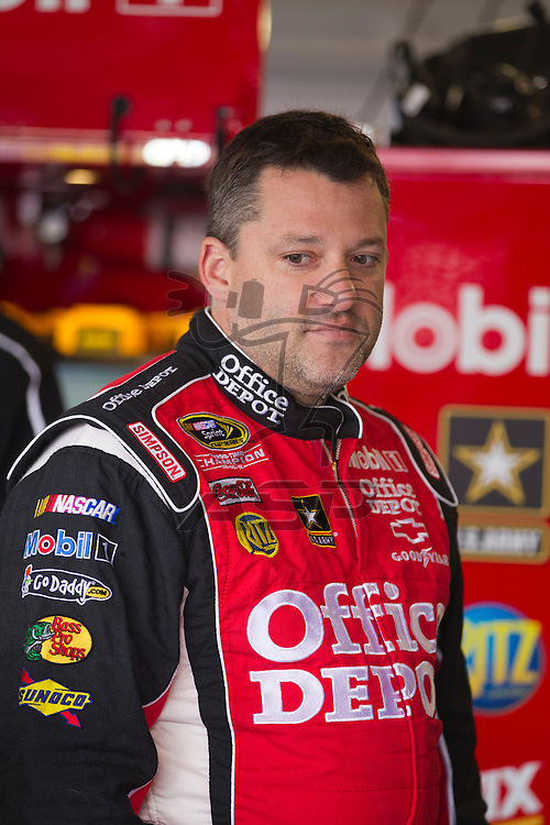 Kansas City, KS - APR 20, 2012:  Tony Stewart (14) before a practice session for the STP 400 race at the Kansas Speedway in Kansas City, KS.