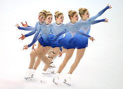 A multiple exposure picture of Gracie Gold of the USA performing in the women's Free Skating of the Figure Skating team event at the Iceberg Skating Palace during the Sochi 2014 Olympic Games, Sochi, Russia, 09 February 2014.