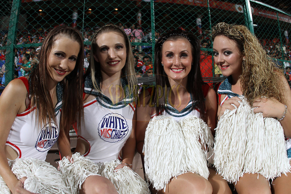 DCs cheer leaders during match 50 of the the Indian Premier League ( IPL) 2012  between The Royal Challengers Bangalore and the Deccan Chargers held at the M. Chinnaswamy Stadium, Bengaluru on the 6th May 2012..Photo by Prashant Bhoot/IPL/SPORTZPICS