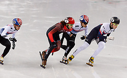 February 17, 2018 - Gangneung, South Korea - Short track skaters Hyojun Lim of Korea, Samuel Girard of Canada Yira Seo of Korea and John-Henry Krueger of the United States compete in the Men's Short Track Speed Skating 1000M finals at the PyeongChang 2018 Winter Olympic Games at Gangneung Ice Arena on Saturday February 17, 2018. (Credit Image: © Paul Kitagaki Jr. via ZUMA Wire)