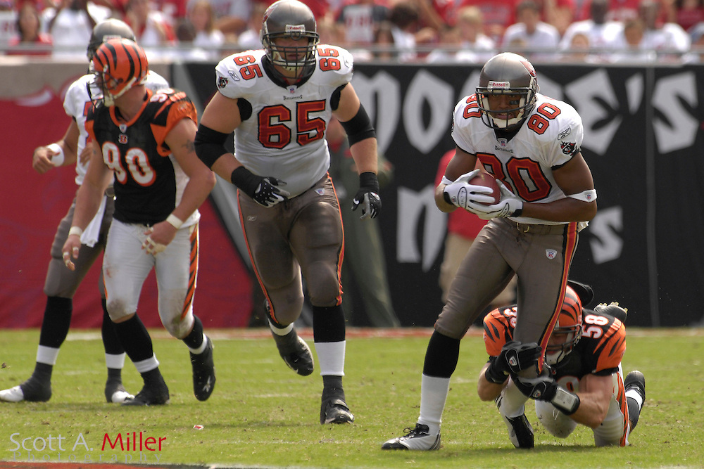 Oct. 15, 2006; Tampa, FL, USA; Tampa Bay Buccaneers receiver (80) Michael Clayton heads up field during the first half of the Bucs game against the Cincinnati Bengals at Raymond James Stadium. ...©2006 Scott A. Miller
