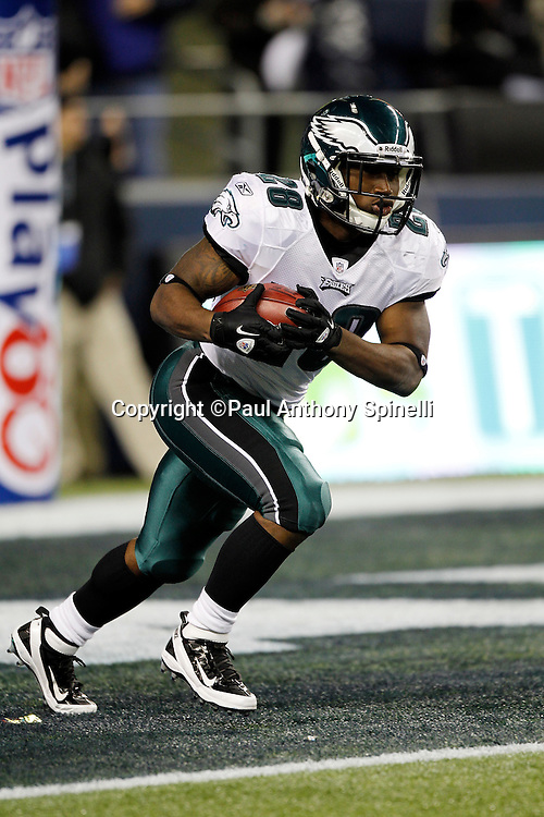 Philadelphia Eagles kick returner Dion Lewis (28) returns a kick during the NFL week 13 football game against the Seattle Seahawks on Thursday, December 1, 2011 in Seattle, Washington. The Seahawks won the game 31-14. ©Paul Anthony Spinelli