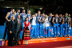 Players of Italy celebrate at trophy ceremony after placed 3rd after volleyball match between National teams of Slovenia and France at Final match of 2015 CEV Volleyball European Championship - Men, on October 18, 2015 in Arena Armeec, Sofia, Bulgaria. Photo by Vid Ponikvar / Sportida
