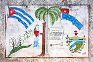Crest and flags in Cardenas, Matanzas, Cuba.