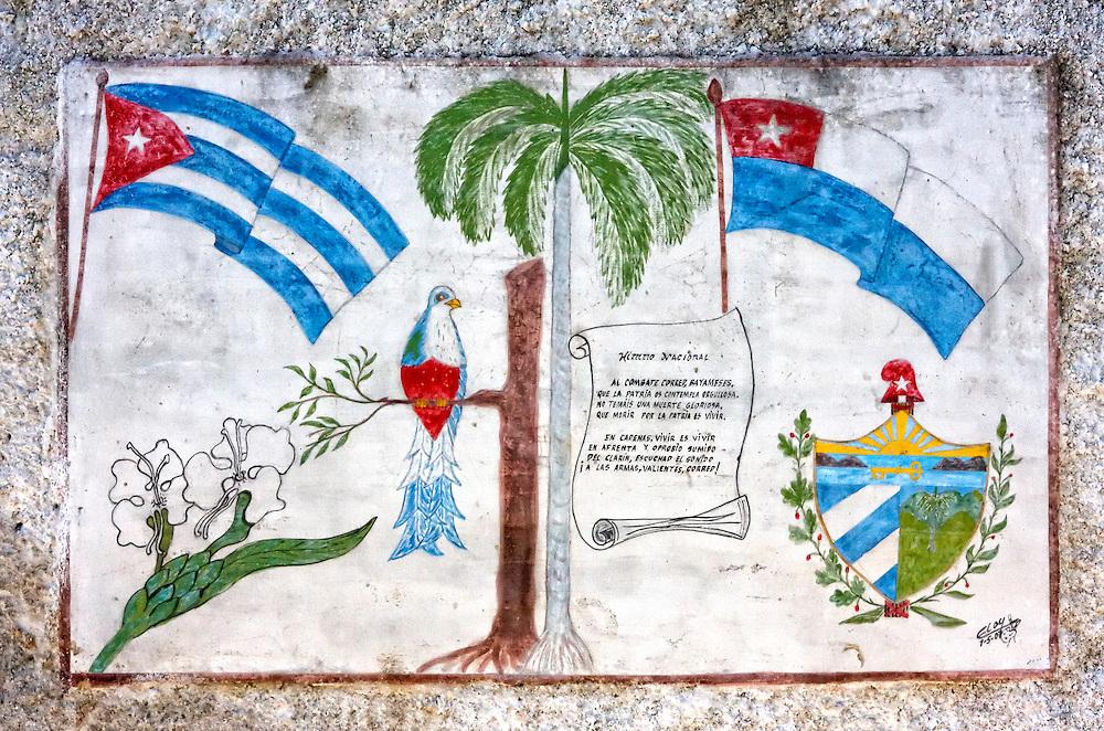 Crest and flags in Cardenas, Matanzas, Cuba.