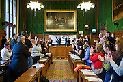 Dorothy Wright, FACK speaking to members of the Trade Union Coordinating Group meeting in room 14 at the House of Commons , London. After she finished she recieved a standing ovation.