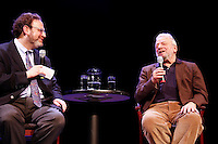 Stephen Sondheim with interviewer Mark Eden Horowitz discussing his work and .Liaisons: Reimagining Sondheim From the Piano, at Symphony Space on April 21, 2012 ..Photo Credit ; Rahav Iggy Segev