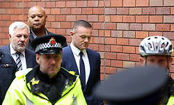 Wayne Rooney leaves Stockport Magistrates Court this morning after pleading guilty to drink driving and receiving a two year driving ban and some community service.<br />