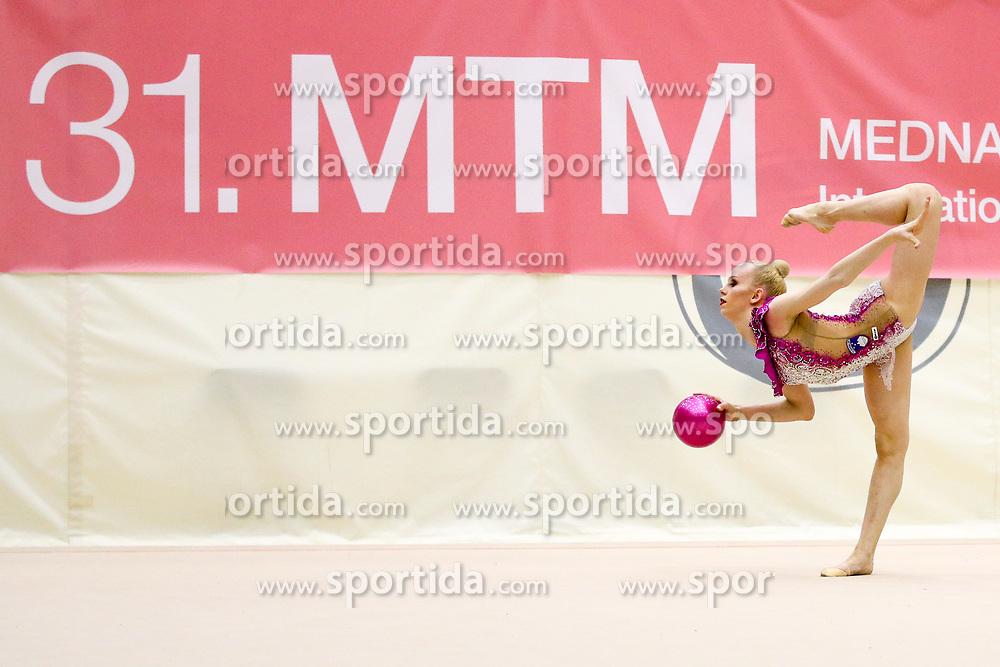 Aleksandra Podgorsek of Slovenia competes during 31st MTM - International tournament in rhythmic gymnastics Ljubljana, on April 7, 2018 in Gymnastics center Ljubljana, Ljubljana, Slovenia. Photo by Matic Klansek Velej / Sportida