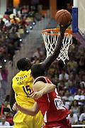 Shawn James Maccabi Tel Aviv Basketball team (Yellow) Playing Hapoel Gilboa-Galil (Red) on October 16th 2011. Final result Maccabi 95 Hapoel 60