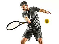 one caucasian mature tennis player man  forehand front view  in studio isolated on white background