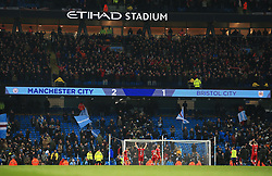 The final score reads Manchester City 2-1 Bristol City as the Bristol players applaud the travelling fans - Mandatory by-line: Matt McNulty/JMP - 09/01/2018 - FOOTBALL - Etihad Stadium - Manchester, England - Manchester City v Bristol City - Carabao Cup Semi-Final First Leg