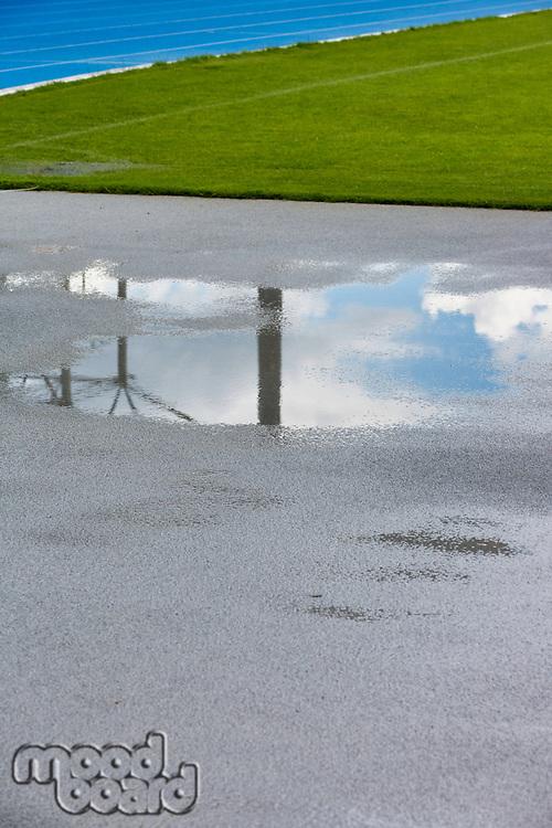Low angle view wet floor in stadium