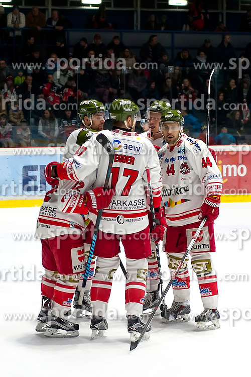 28.12.2015, Ice Rink, Znojmo, CZE, EBEL, HC Orli Znojmo vs HCB Suedtirol, 36. Runde, im Bild v.l. Stephen Saviano (HCB Sudtirol) Alexander Egger (HCB Sudtirol) Hannes Oberdorfer (HCB Sudtirol) // during the Erste Bank Icehockey League 36nd round match between HC Orli Znojmo and HCB Suedtirol at the Ice Rink in Znojmo, Czech Republic on 2015/12/28. EXPA Pictures © 2015, PhotoCredit: EXPA/ Rostislav Pfeffer
