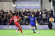 AFC Wimbledon defender George Francomb (7) clearing the ball during the EFL Sky Bet League 1 match between AFC Wimbledon and Gillingham at the Cherry Red Records Stadium, Kingston, England on 12 September 2017. Photo by Matthew Redman.