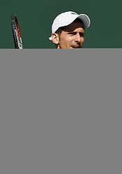 March 11, 2018 - Indian Wells, CA, U.S. - INDIAN WELLS, CA - MARCH 11: Novak Djokovic (SRB) in action during the second set of a match played at the BNP Paribas Open on March 11, 2018 at the Indian Wells Tennis Garden in Indian Wells, CA. (Photo by John Cordes/Icon Sportswire) (Credit Image: © John Cordes/Icon SMI via ZUMA Press)