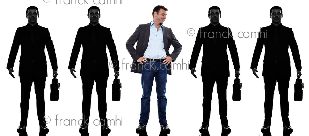 business man people standing in a row in silhouette shadow withe background